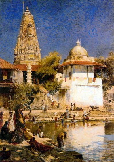 Weeks, Edwin Lord: The Temple and Tank of Walkeschwar at Bombay. Fine Art Print/Poster. Sizes: A4/A3/A2/A1 (003299)